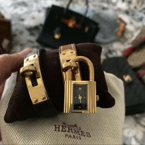 Hermes Kelly Watch with Black and Brown Straps